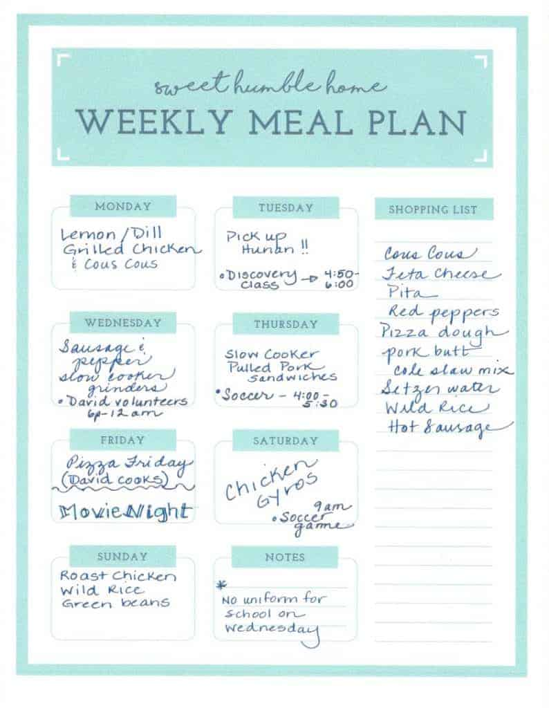 sweethumblehome Meal Planning