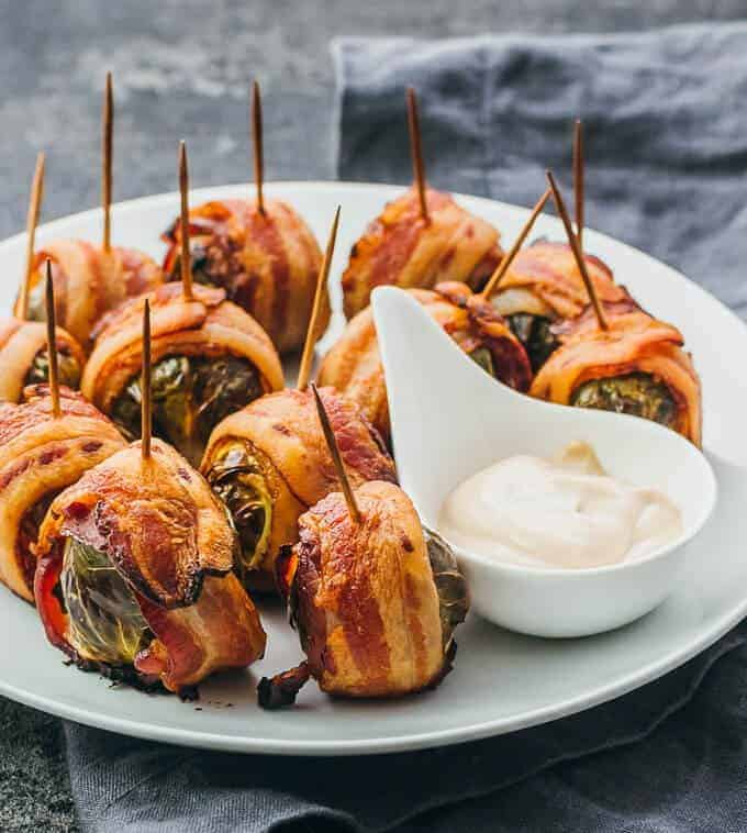 Fall Appetizer Roundup - Sweet Humble Home - Bacon Wrapped Brussels Sprouts with Balsamic Mayo Dip from Jula at Savory Tooth