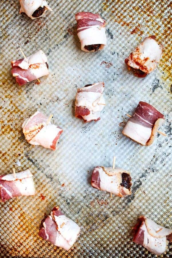 Fall Appetizer Round Up - Chili Bacon Wrapped Dates with Manchego from Shannon at Pass Me Some Tasty