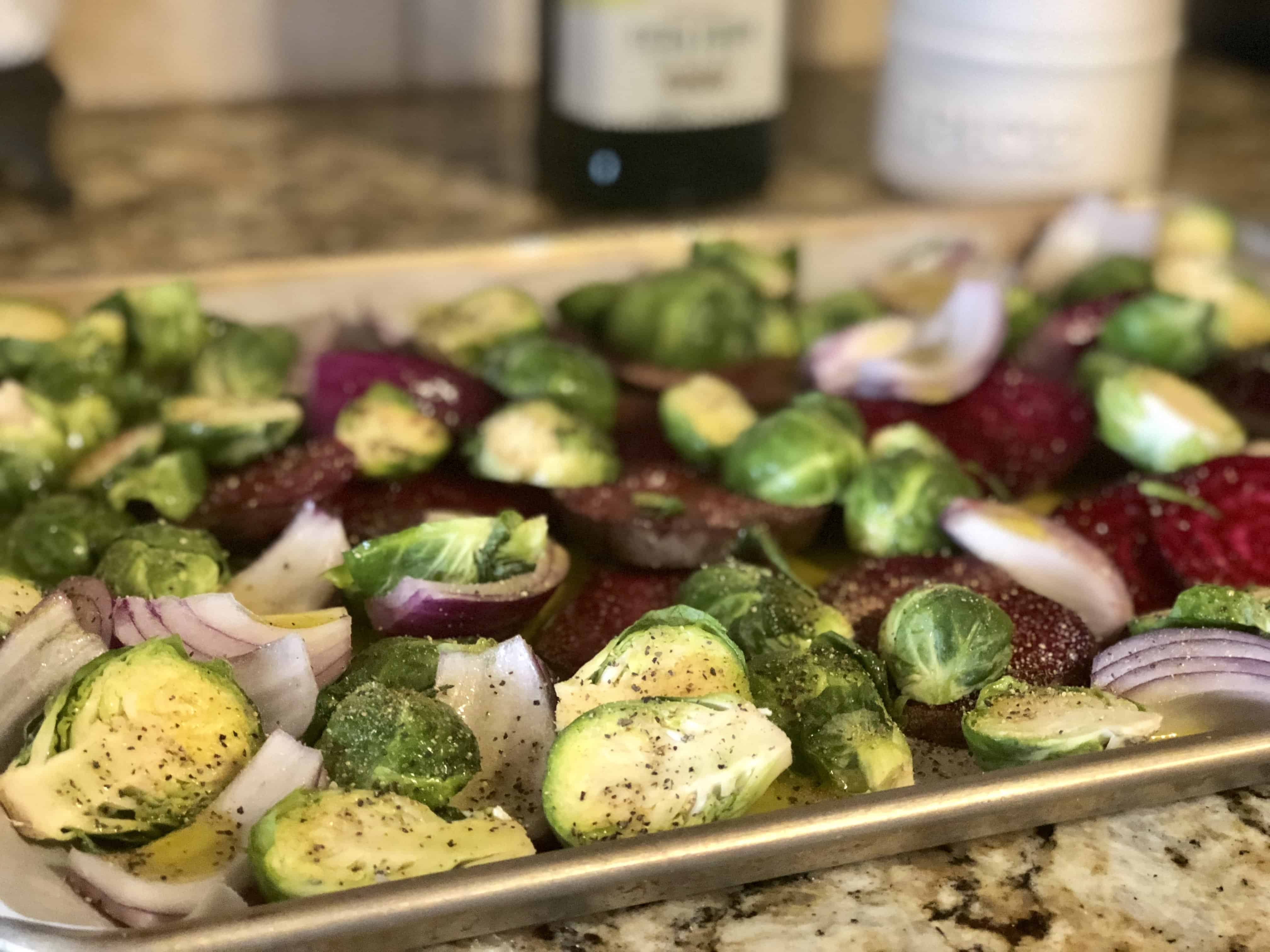 Beets Brussels Sprouts & Crispy Bacon side dish. Easiest side dish you'll ever make! Sweet Humble Home