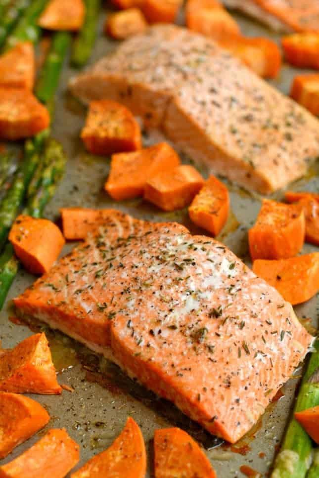 Sweet Humble Home Fall Sheet Pan Dinner Roundup - Skinnyfitalicious -salmon-asparagus-sweet-potato-one-pan-img8