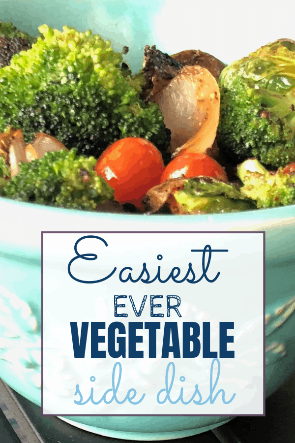 The Easiest Ever Vegetable Side Dish with tomatoes, broccoli, onion, and Brussels Sprouts