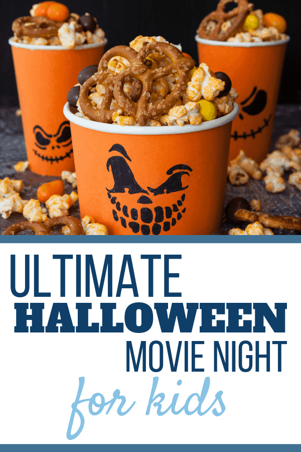 Hosting a Halloween Movie Night can be a cinch! I've gathered together ideas for a great party with ideas for Halloween party foods, drinks, decorations! I'll also share some set up tips to make the most of your space for the party! Grab a pumpkin for each little goblin and let's get this Halloween Movie Night Party started! (I've even included a list of movies you could show)! #halloweenmovienight, #halloweenParty, #halloween, #halloweenentertaining #halloweenfood, #halloweenpartyideas, #partyideas, #halloweenmovies