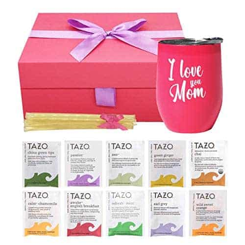 Gifts For Mom - Mom Gifts Tea Set Includes I Love You Mom Insulated Tea Cup 12 Tazo Teas & All Natural Honey  