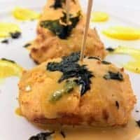 Salmon Cream Cheese Puffs With Wasabi Mayo