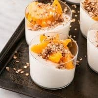 Peaches and Cinnamon Granola with Yogurt Panna Cotta
