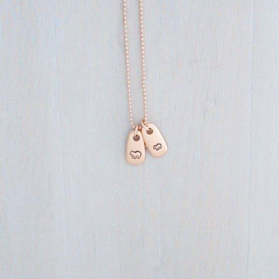 Mama Bear and Baby Bear Necklace- Real Rose Gold