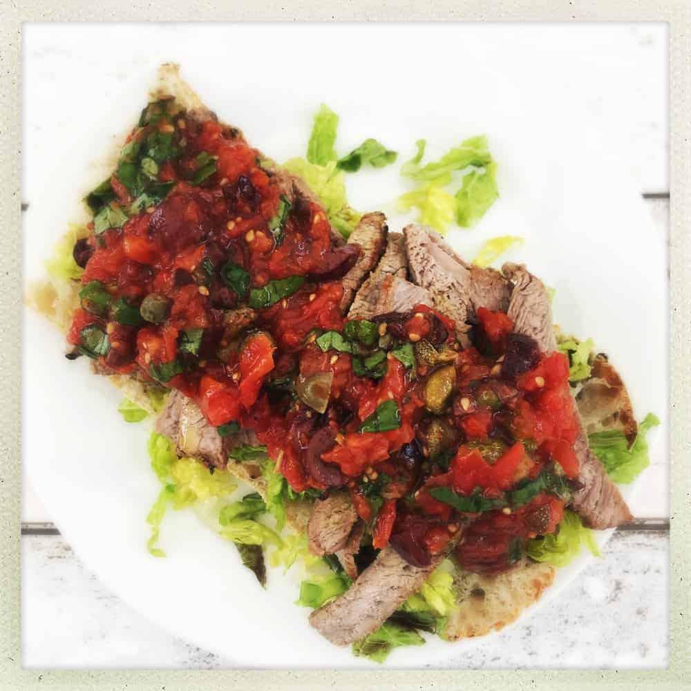 Steak Ciabatta with Italian Roast Tomato Salsa