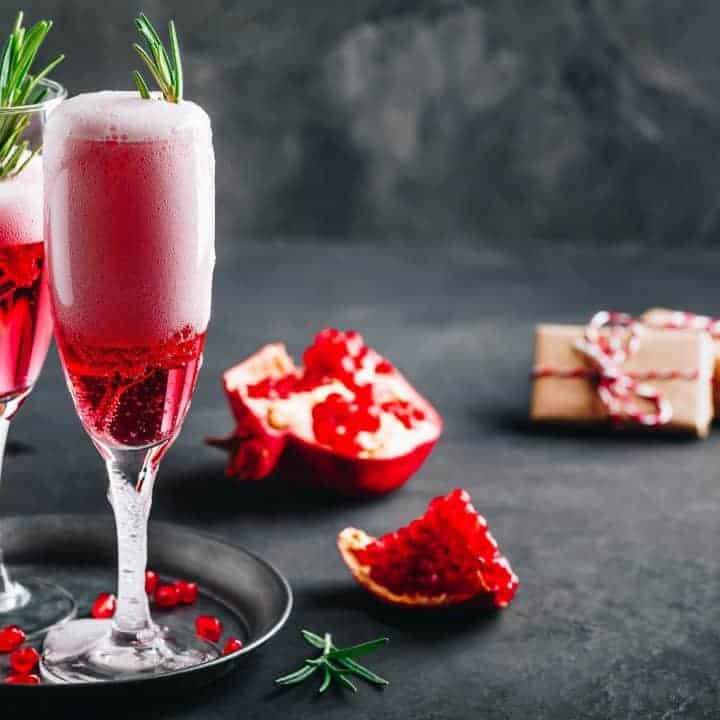 Recipe for a rosemary pomegranate champagne cocktail for the holidays
