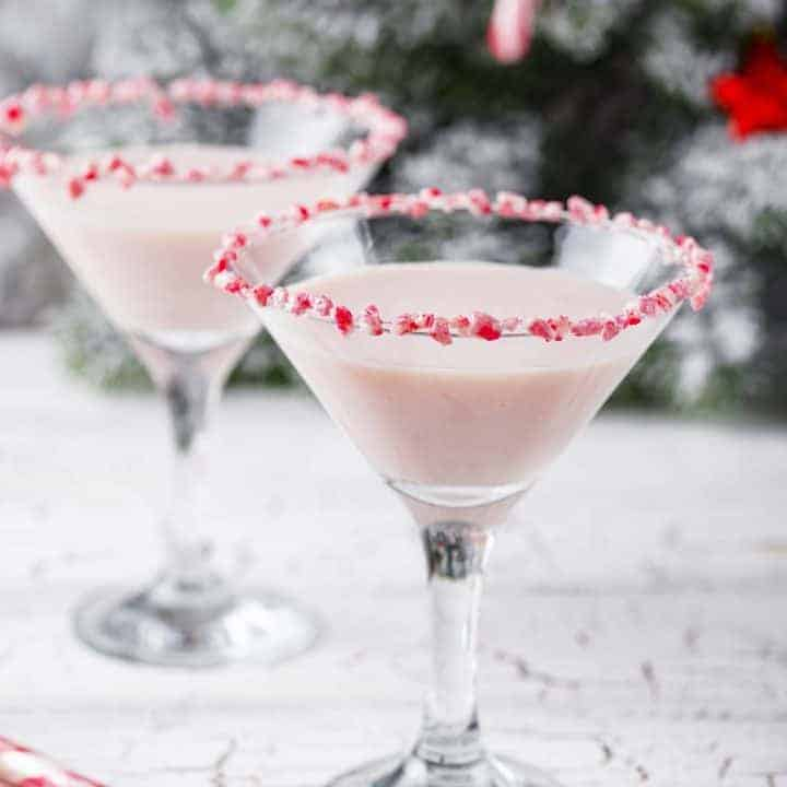 Easy to make Candy Cane Martini recipe. Step by step instructions.