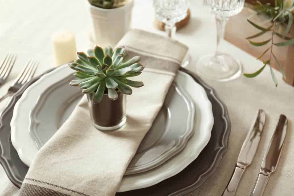 Easy spring table setting example: Monochromatic tan and gray plates with a gray striped napkin and topped with a tiny succulent planted in a glass planter.