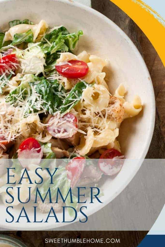 Easy Summer Salad - Pasta salad with spinach, tomato, and pasta
