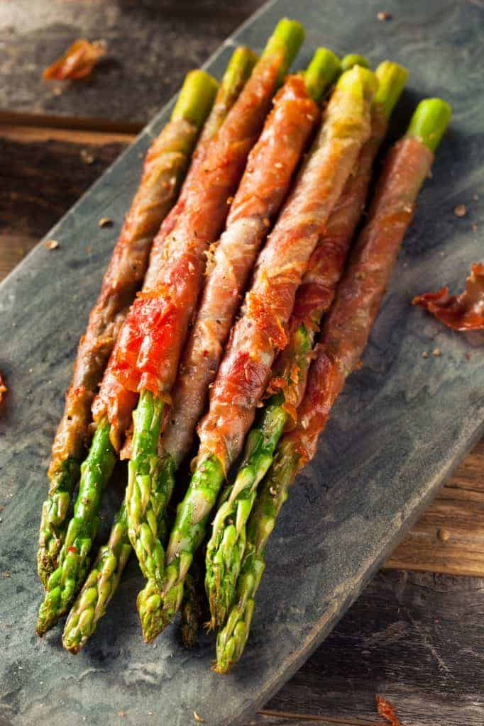 Asparagus spears wrapped in prosciutto