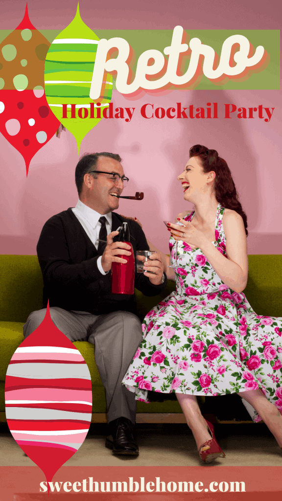 A retro dressed couple enjoying a cocktail on the couch at a retro cocktail party