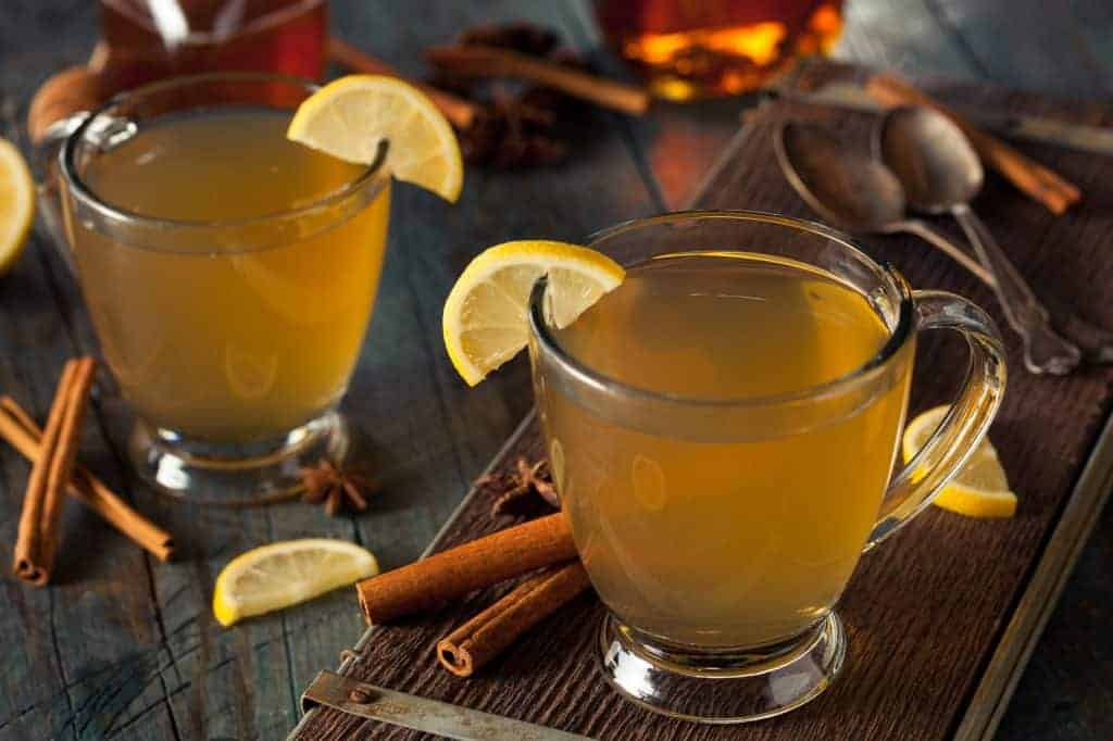 Warm Hot Toddy with Lemon Bourbon and Spices